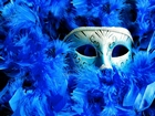 Mavi Tüylü Balo Maskesi