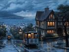 Yağmurda Tramvay Gezintisi Yapbozu
